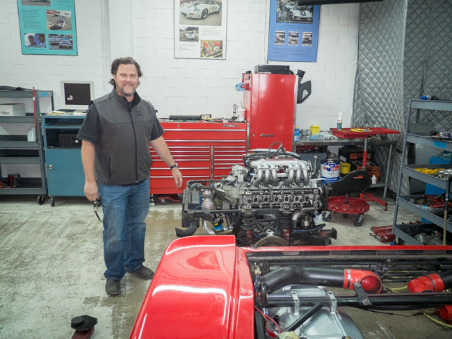 "David Moore oversees the restoration of a ""barn find"" Ferrari  Testarossa engine"