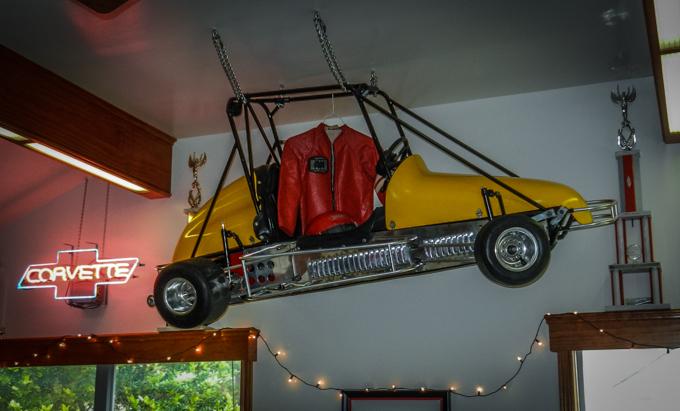 Quarter Midget racer built for Scott's sons, hangs in the family room!
