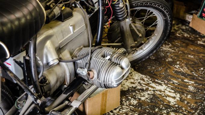 A classic BMW Airhead engine
