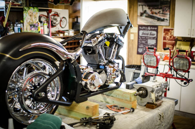 Larry is custom building a monster bike in his personal shop.