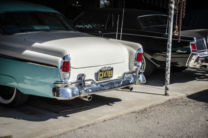 A beautiful 50's Mercury hardtop, in correct vintage colors.  A frequent driver for Larry.