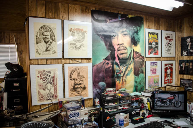 A VERY small sample of Larry White's personal music poster collection.  Most are originals