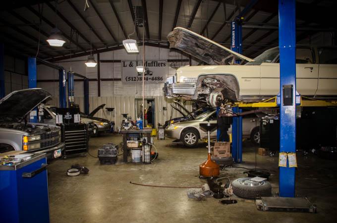 Customer cars undergoing repair